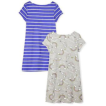 Brand - Spotted Zebra Girls' Little Kid 2-Pack Knit Short-Sleeve A-Lin...