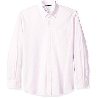 Essentials Men's Regular-Fit Langærmet Solid Pocket Oxford Shirt, Pi...