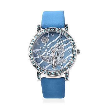 STRADA Japanese Movement Simulated Topaz Studded Dial Water Resistant Watch