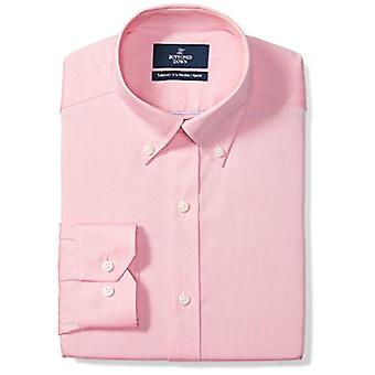 BUTTONED DOWN Men's Tailored Fit Button-Collar Solid Non-Iron Dress Shirt, Pi...
