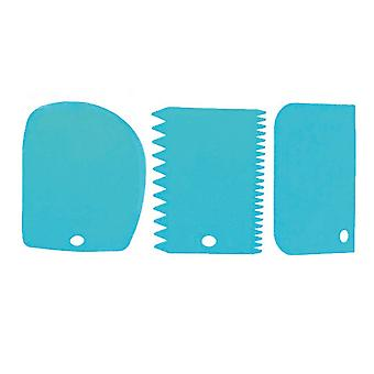 3pcs/ Set Reusable Plastic Cake  Edge Side Scraper Blue
