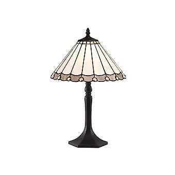 Luminosa-valaistus - 1 vaalea kahdeksankulmainen pöytävalaisin E27 30cm Tiffany Shadella, harmaa, kristalli, ikääntynyt antiikki messinki