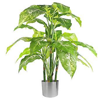 100cm große Füchse Aglaonema (Spotted Evergreen) Baum künstliche Pflanze mit Silber Metall Pflanzer