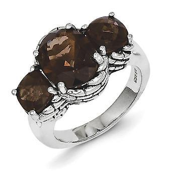 Polerad Prong set antik finish Smokey Quartz Ring - Ring storlek: 6 till 8