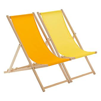 Traditional Adjustable Beach Garden Deck Chairs - Orange / Yellow