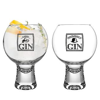 iStyle My Home 2 Piece Ikonic Ladies & Gents Gin Glasses Set - 540ml