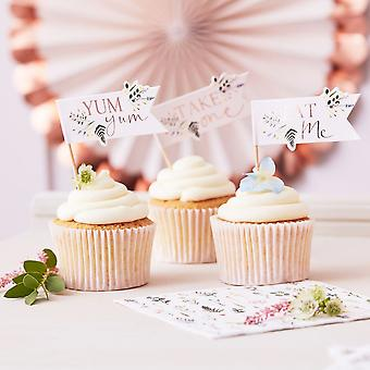 Floral Cupcake Toppers Picks   Tea Party Rose Gold Birthday Cake Decorations x12