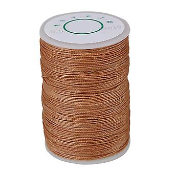 0.5mm Waxed Polyester Round Braided Thread Cord DIY Macrame String Light Brown