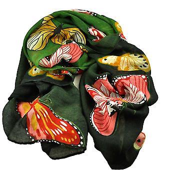 Ties Planet Butterfly Animal Print Dark Green & Black Lightweight Women's Shawl Scarf