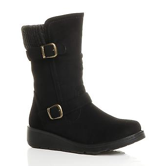 Ajvani womens low wedge heel knitted collar buckle comfort calf boots size