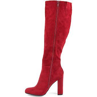 Brinley Co. Naisten polvenkorkuinen röyhelö saapas punainen, 8 leveä vasikka US