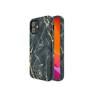iPhone 12 and iPhone 12 Pro Case Black with Gold - Marble