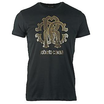 Roberto Cavalli Gold Schlange Haut Logo schwarz T-Shirt