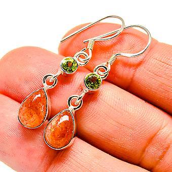 """Sunstone, Peridot Earrings 1 1/2"""" (925 Sterling Silver)  - Handmade Boho Vintage Jewelry EARR408017"""
