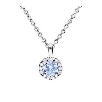 Diamonfire 925 Sterling Silver Sky Blue Round Cubic Zirconia With White Stone Cluster Surround Pendant Necklace 41-46cm