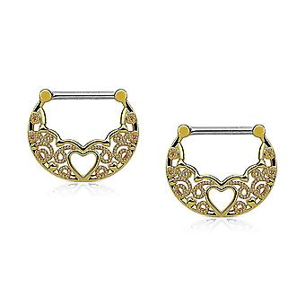 Pair of nipple clickers 14g filigree design with hollow heart center
