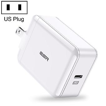 ESR 18W USB-C / Type-C PD Foldable Plug Travel Wall Charger, US Plug, For Galaxy, Huawei, Xiaomi, LG, HTC and Other Smart Phones, Rechargeable Devices