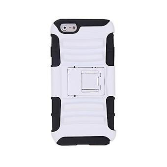 لفون 6 4.7'' طبقة مزدوجة سيليكون والكمبيوتر الخلفي حقيبة واقية غطاء شل مع حامل أبيض