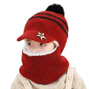 Neulo lyhyt muhkea hupullinen hattu ja huivi, lasten talvi lämmin suoja korvakorkki