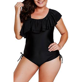 Spaghetti Strap One Shoulder Frill Teddy Swimsuit