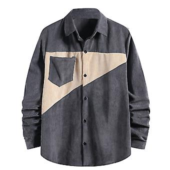 Yunyun Men's Corduroy Lightweight Button Down Triangle Stitching Casual Top Shirt
