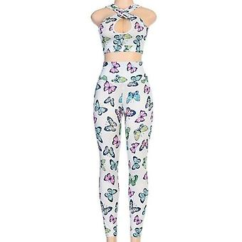 Mouwloze Butterfly Print Hole Sexy Crop Top Leggings
