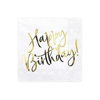 Hvid og guld ' tillykke med fødselsdagen ' papir Party servietter x 20