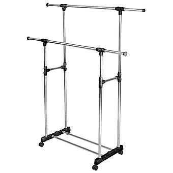 Adjustable Dress Rack with Two Bars - Silver