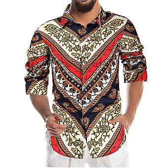 YANGFAN Men's Printed Long-sleeved Shirt Soft Casual Top