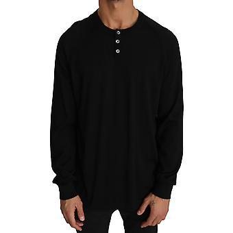 Dolce & Gabbana Black Cashmere Music Print Pullover Sweater