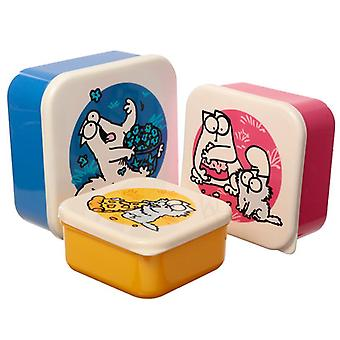 Ensemble de chat Simons de 3 boîtes à lunch en plastique (m/l/xl)