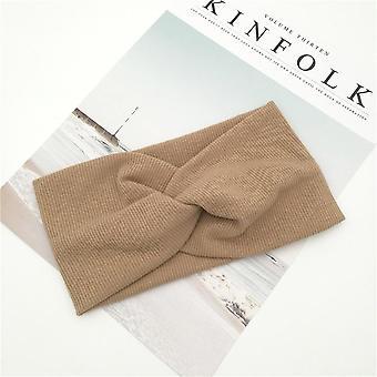 Nuttet solid farve baby turban, bomuld snoet knyttet pandebånd, elastik