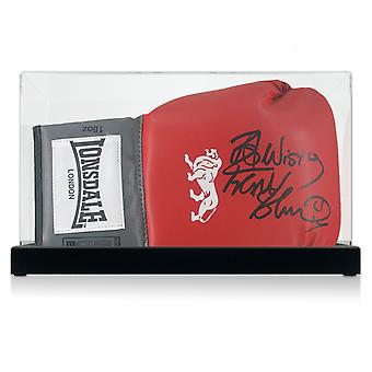 Frank Bruno Signed Red Boxing Glove. In Display Case