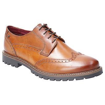 Base Grundy Washed Mens Leather Formal Shoes Tan UK Size