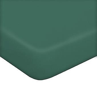 Feuille avec coins une couleur verte en coton, L90xP195 cm