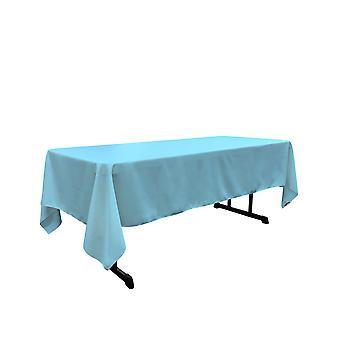 Mantel rectangular poplin de poliéster de lino de 60 por 144 pulgadas, turquesa ligera