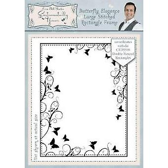 Sentimentally Yours Butterfly Elegance Large Stitched Rectangle Frame Pre Cut Stamp