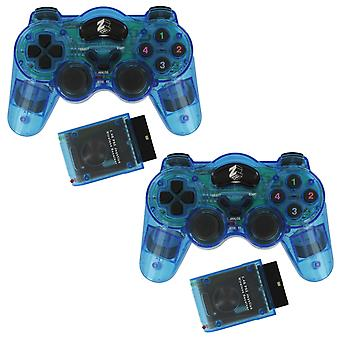 Zedlabz wireless rf double shock vibration controller for sony playstation 2 ps2 & ps1 - 2pk blue