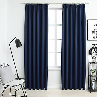 vidaXL Blackout curtains with hook 2 pcs. blue 140x225cm