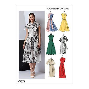 Vogue Syning Mønstre 9371 Misses Button Front Kjole Størrelse 14-22 Uslebne