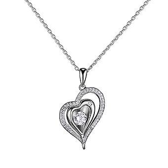Sterling strieborný prívesok otočný zirkón iskrivý prívesok v tvare srdca náhrdelník 18 palcov gg84970
