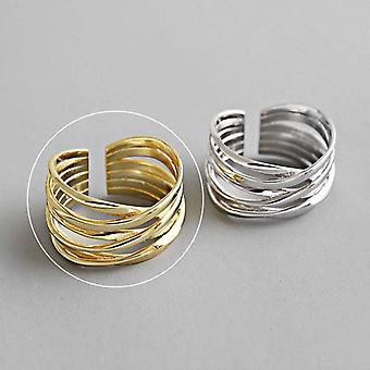 Sterling Silver Charming Irregular Chain Geometric Rings, Gold Open Ring, Men