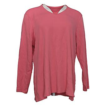 Isaac Mizrahi En direct! Women's Top Long Sleeve V Neck Tunique Rose A390353