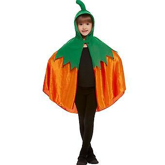 Cape citrouille à capuche velours orange enfant
