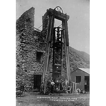 Tywarnhayle Mine, St Agnes, Cornwall. Around 1907. Large Framed Photo. Three miners next to the.