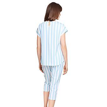 Rösch Vær lykkelig! 1212032-16511 Kvinners Stripe Blå Bomull Pyjamas Topp