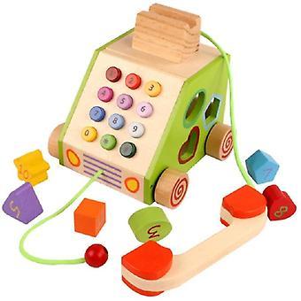FengChun Nachzieh Holzspielzeug,Telefon Motorik Spielzeug, Nachziehtier bunt, aus Holz, Geschenk fr