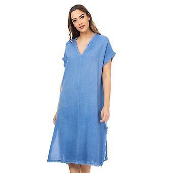 Gerafelde V nek oversized tuniek jurk