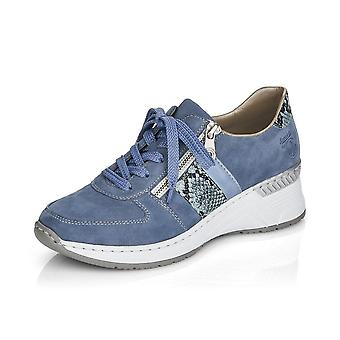 Rieker N4321-11 Kitty Smart Casual Lace-up Trainers In Jeans