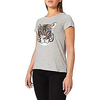 Springfield Camiseta Dibujo Lentejuelas T-Shirt, Grey, XL Woman